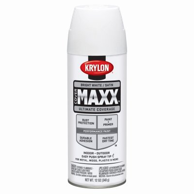 Krylon 9159 COVERMAXX Spray Paint and Primer, Satin Bright White, 12 Ounce (6 ()