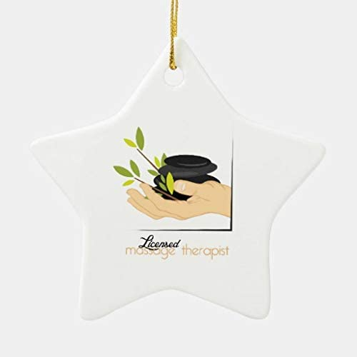 VinMea Xmas Decorative Hanging Ornament for Christmas Tree Licensed Massage Therapist Heart Holiday Christmas Ceramic Ornament