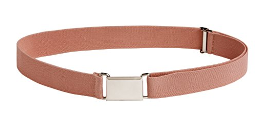 Sportoli8482; Kids Elastic Adjustable Dress Stretch Belt with Silver Square Buckle - Peach