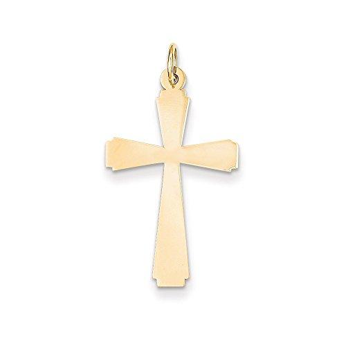 14k Gold Engraveable Cross Charm Pendant (1.14 in x 0.59 in)
