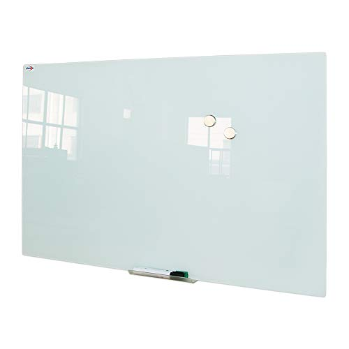 Magnetic Glass Whiteboard, Large Glass Dry Erase Board, Frameless Glass White Board for Wall with 1 Marker Tray, 4 Dry Erase Markers,1 Eraser and 2 Magnets, 36 x 48 Inches