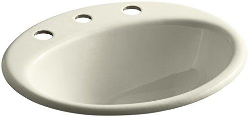 8 Fd Cane Sugar (KOHLER K-2905-8-FD Farmington Drop-In Bathroom Sink with 8-Inch Widespread Faucet Holes, Cane)