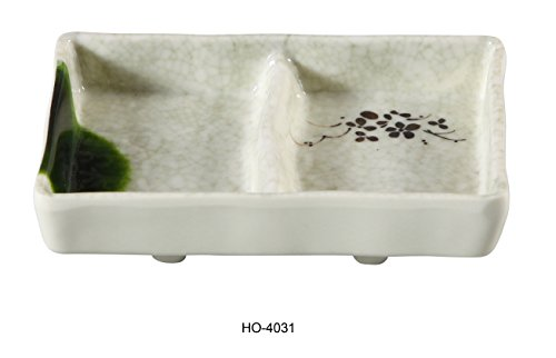 Yanco HO-4031 Honda Divided Sauce Dish, Double, 5'' Length, 3.5'' Width, Melamine, Pack of 48 by Yanco