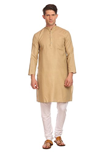 WINTAGE Men's Poly Cotton Bandhgala Festive and Casual Camel Kurta Pyjama by WINTAGE