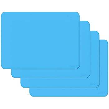 gasare, Silicone Placemats, Kids Placemats, Non-slip, Waterproof, Flexible, Thicker, for Dining Tables, Size 16 x 12, Set of 4, Blue