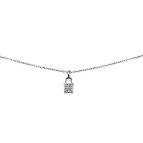GemStar USA Sterling Silver Cubic Zirconia Love Lock Dainty Choker Necklace
