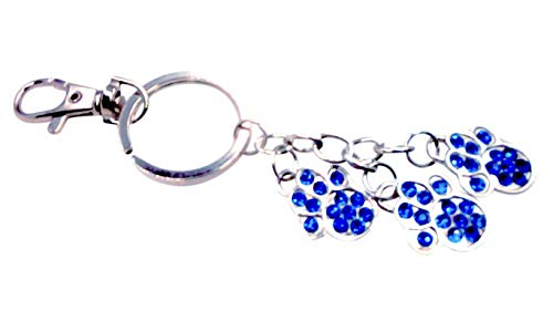 Paw Print Sparkling Rhinestone Key-Chain for Purse or Handbag or Cell Phone Pendant/Charm (5L x 1W, Blue Silver)