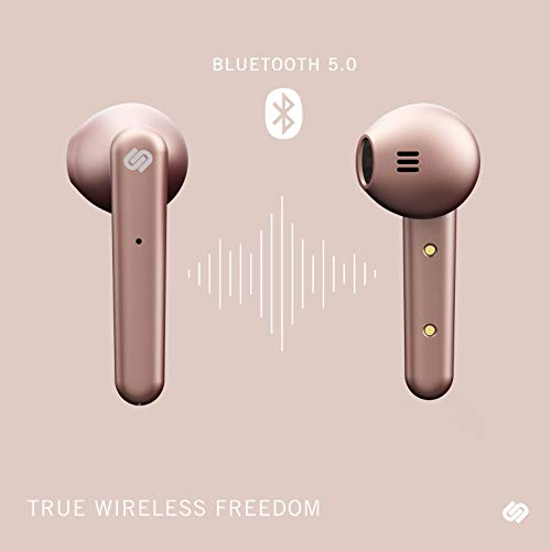 Urbanista Stockholm True Wireless Earbuds 14H Playtime Bluetooth 5.0 with Charging Case, Touch Controls & Dual Mic Earphones Compatible with Android and iOS - Rose Gold