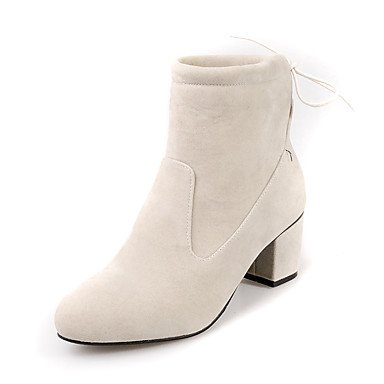 RTRY Women's Shoes Leatherette Winter Fashion Boots Bootie Boots Chunky Heel Round Toe Booties/Ankle Boots Lace-up For Casual Dress Almond US5 / EU35 / UK3 / CN34 Kiagl2cE