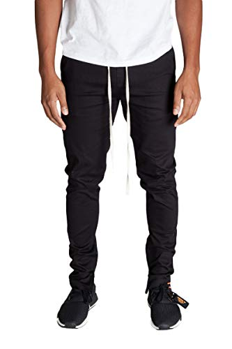 KDNK Men's Tapered Skinny Fit Stretch Twill Cotton Drawstring Ankle Zip Pants (XX Large, Black)