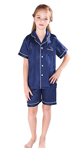 Flower Girl Pajamas Wedding (Horcute Pajamas Little Kid Sleepwears Set Pjs Clothes Short Sleeve Navy 160#)