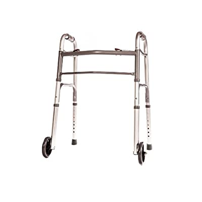 """Walker Folding Junior Deluxe 2 Button with Front 5"""" Wheels By Healthline Trading"""
