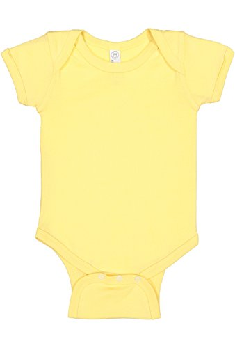 (Rabbit Skins Infant 100% Cotton Jersey Lap Shoulder Short Sleeve Bodysuit (Butter, 6 Months))