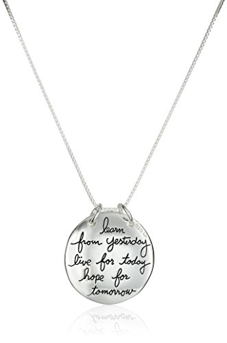 Sterling Silver Live The Life You Love Circle Pendant Necklace, 18″