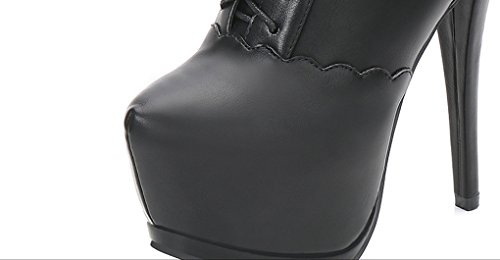 XZ High-Heeled Waterproof Taiwan Deep Mouth Shoes Female Boots Bare Boots Black ezFHYSv5G
