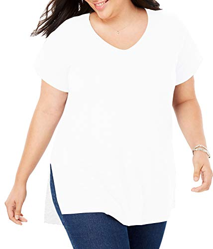 V-neck Short Sleeve Top Solid - PARPERNA Short Sleeves v Neck Tops Casual Solid t-Shirt for Womens Plus Size Junior