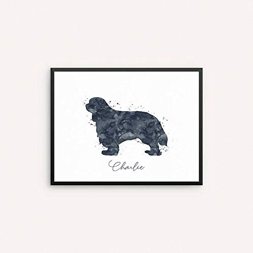 - TimPrint Cavalier King Charles Spaniel Watercolor Print Watercolor Dog Wall Art Dog Home Decor Personalized Wall Decor Custom Name Sign Gift Framed Print