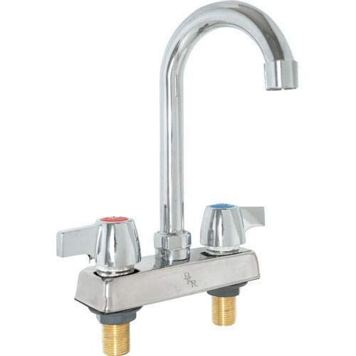 BK Resources BKD-5G-G Workforce Standard Duty 4'' On Center Deck Mount Gooseneck Faucet with 5'' Spout by BK Resources