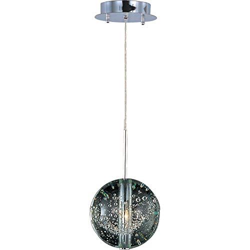 (ET2 E24251-91PC Orb 1-Light Single Pendant, Polished Chrome Finish, Bubble Glass, 12V G4 Xenon Bulb, 35W Max., Dry Safety Rated, Standard Dimmable, Natural Fiber Shade Material, 3450 Rated Lumens)