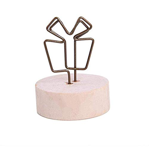 OrchidAmor Rustic Real Wooden Base Place Card Holders Iron Wire Picture Picks Clip 2019
