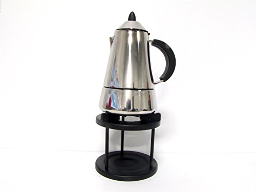 Pyramid 6cup Espresso maker (10oz, 300ml) Stainless steel with warmer stand by Espresso (Image #1)