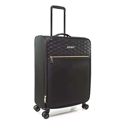 DKNY Quilted Expandable Softside Spinner Luggage, Black