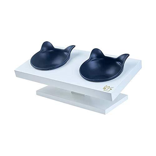 ViviPet 15° Tilted Platform Pet Feeder_ Solid Pine Stand with Ceramic Bowl for Dog and cat Under 20 lb. pet Bowl Feeder ()