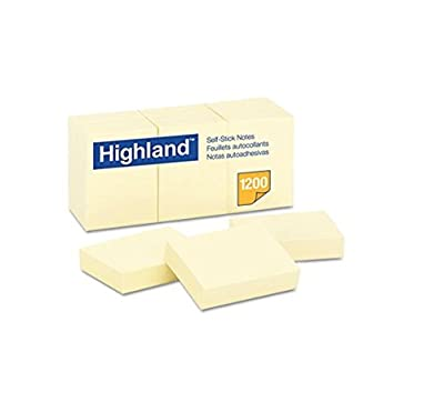6 X Highland 6539 Self-Stick Notes, 1-3/8-Inch by 1-7/8-Inch, Yellow, 100 Sheets per Pad (12 Pack)