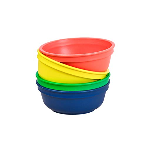 Re-Play Made in The USA 4pk Bowls for Easy Baby, Toddler, and Child Feeding - Red, Navy, Yellow, Kelly Green (Primary+)