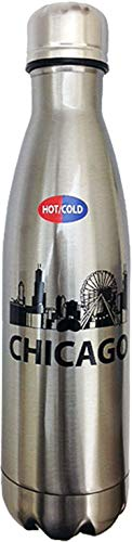(CityDreamShop Chicago Logo Steel Vacuum Insulated Hot/Cold Gray 12 oz Water Bottles Souvenir Gift)