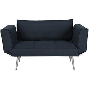 Amazon Com Dhp Euro Sofa Futon Loveseat With Chrome Legs
