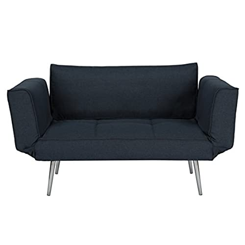 DHP Euro Sofa Futon Loveseat With Chrome Legs And Adjustable Armrests   Navy