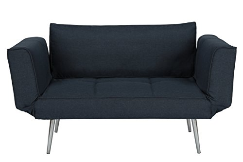 DHP Euro Sofa Futon Loveseat with Chrome Legs and Adjustable Armrests - (Living Room Sleeper Mattress)