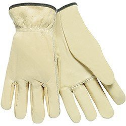 MCR Safety 3201L Select Grade Unlined Grain Leather Driver Men's Gloves with Straight Thumb, Cream, Large, 1-Pair by MCR Safety