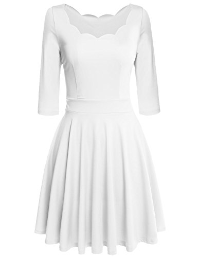 [Elesol Women's Sexy Low Cut Party Pleated Flare Tea Dresses White/M] (Sexy Low Cut White Dress)