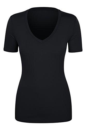 - iliad USA 7018 Womens Basic Soft Fitted Short Sleeve Deep V-Neck T-Shirt Black M