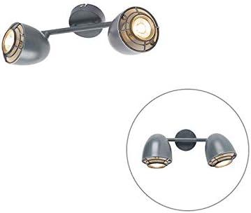 1 x 35 Watt PLAN Acero Org/ánica Adecuado para LED Max QAZQA Industrial Foco gris orientable 1-luz