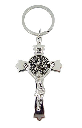 Silver Toned with Black Enamel Accent Saint Benedict Crucifix Key Chain, 3 Inch