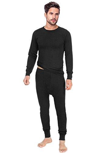 Rocky Mens Thermal 2Pc Set Long John Underwear Smooth Knit  Large  Black