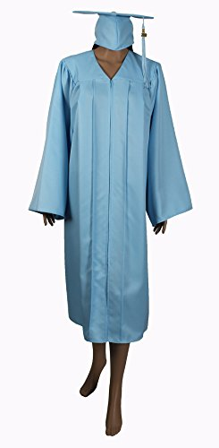 (2018 Year Charm) Middle & High School Graduation Caps Gowns With Tassel & Year Charm Package Matte Material Happy Secret