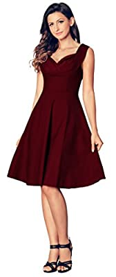 CoolEnding Women's Vintage V Neck Cut Out Retro Bridesmaid Cocktail Party Swing Dress