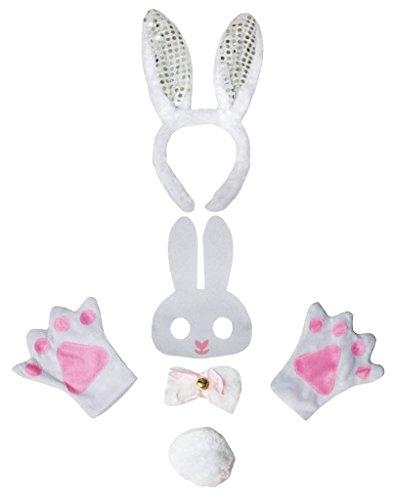 Petitebella Bunny Headband Bowtie Tail Mask Gloves Children 5pc Costume (White Sequins) - White Rabbit Costume Gloves