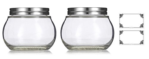 Clear 8 oz / 220 ml Round Glass Jar with Silver Metal Lid (2 pack) + Labels - for Home Storage and Organization, Kitchen, Wedding and Shower Gifts -