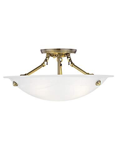 Livex Lighting 4273-01 Oasis 3-Light Ceiling Mount, Antique Brass