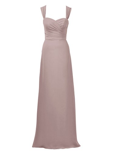 Evening Chiffon Gown Dress Alicepub Maxi Line Bridesmaid Women Silver Party for Pink Dress A 0SXqwz
