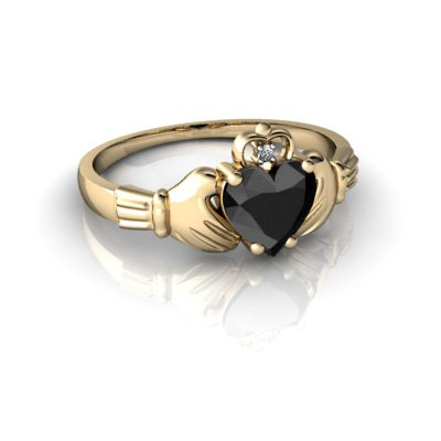 14kt Gold Black Onyx and Diamond 6mm Heart Claddagh Ring