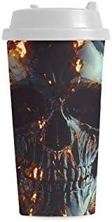 Cráneo Hueso fresco Tatuaje de miedo Impresión 16 oz Doble pared Plástico Aislado Deportes Botella de agua Tazas Viaje de cercanías Tazas de café Para mujeres estudiantes Leche Taza de té Bebida