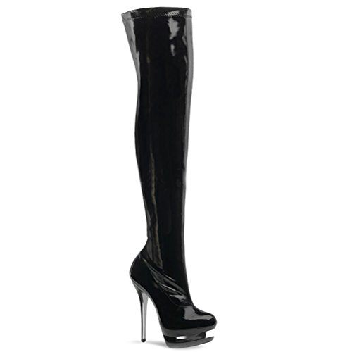 6 Inch Stiletto Black Stetch Platform Thigh High Boots Dominatrix Size: 7