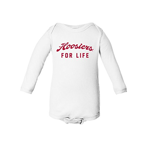 UGP Campus Apparel Hoosiers for Life Long Sleeve Infant Creeper Bodysuit - 12 Months - White