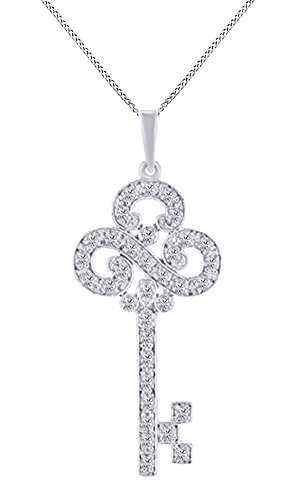 Jewel Zone US White Natural Diamond Key Pendant Necklace 14k White Gold Over Sterling Silver (1/4 Ct)